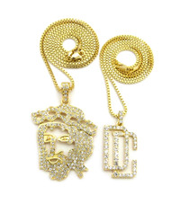 Dream Chasers Outlined JESUS Piece Hip Hop Pendant 14k Gold