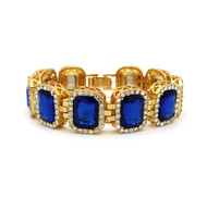 14k Gold Iced Out Ruby Blue Stone Diamond Cz Premium Bracelet