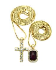 Hip Hop Onyx Gem Shield Iced Cross Pendant Gold Red