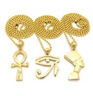 Egyptian Trinity Ankh Cross Queen Nefertiti Heru Pendant Gold