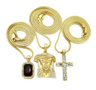 14k Gold Ice on Ice Jesus Cross Ruby Stone Pendant