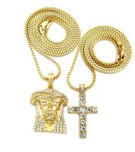 14k Gold  Full Stone Iced Up Jesus Piece Cross Pendant