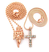 Full Stone Iced Out Cross Praying Cherub Pendant Rose Gold