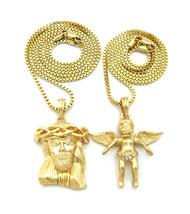 14k Gold Guardian Angel Cherub Jesus Piece Pendant Set