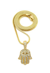 14k Gold Hamsa Hand of Fatima Diamond Cz All Seeing Pendant