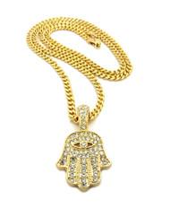 Hamsa Hand of Fatima Diamond Cz Diamond Cut Cuban Pendant