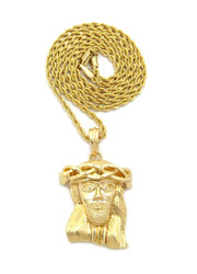 14k Gold Kings Crown Micro Jesus Piece Pendant
