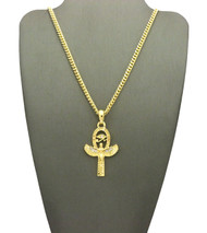 14k Gold African Goddess Isis Eye of Ra Diamond Cz Pendant