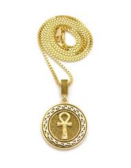 14k Gold Crushed Ice Original Ankh Cross Circle Pendant