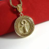 14k Gold Golden Ice Original Ankh Cross Bling Pendant