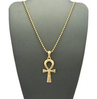 14k Gold Ankh Hieroglyphics Cross Pendant