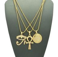 14k Gold King Tut Eye Of Heru Ankh Cross Pendant