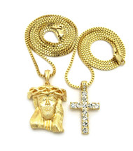 14k Gold Kings Crown Micro Jesus Piece Full Stone Cross Pendant