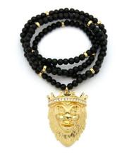 Lion of Judah JESUS Simulated Diamond Pendant 14k Gold