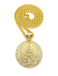14k Gold GP Angel of Death Euphanasia Cuban Link Pendant