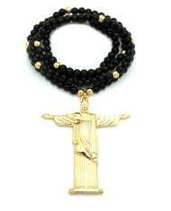 Men's Hip Hop Christ The Redeemer Beaded Chain Pendant