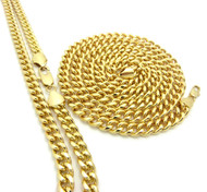 14k Gold 30 and 36 Inch Cuban Link Chain Necklace Set