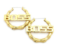 BOSS Pinhatch Door Knocker Earrings Gold