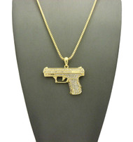 Simulated Diamond 9mm Pistol Gun Iced Out Pendant Gold
