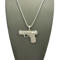 Simulated Diamond 9mm Pistol Gun Iced Out Pendant Silver