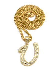 Iced Out Initial U Gold Pendant w/ Miami Cuban Link Chain