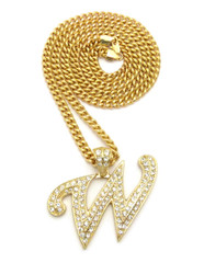 Iced Out Initial W Gold Pendant w/ Miami Cuban Link Chain