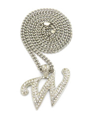 Iced Out Initial W Silver Pendant w/ Miami Cuban Link Chain