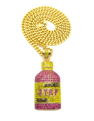 Hip Hop Syrp Bottle Simulated Diamond Pendant Chain