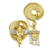 14k Gold Crushed Iced Simulated Diamond Jesus Cherub Pendant