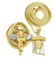 Kings Crown 14k Gold Crushed Ice Hip Hop Jesus Chain Pendant