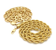 14k Gold Marina Rope Chain Necklace Combo Set
