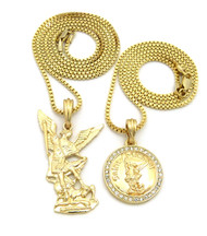 14k Gold Guardian Angel St Michael Trampling Satan Pendant Set