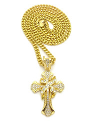 Simulated Diamond 14k Gold Ribbon Cross Pendant