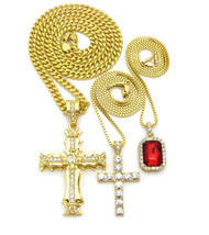 14k Gold Jagged 3D Full Stone Cross Gemstone Pendant Set