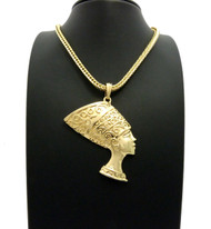 African Queen Nefertiti Pendant Gold