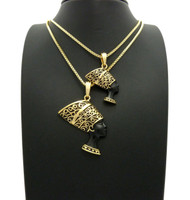 African Queen Nefertiti Pendant Chain Set Black