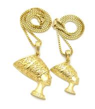 African Queen Nefertiti Pendant Chain Set 14k Gold GP