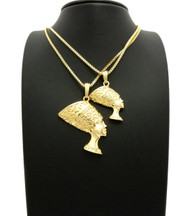 African Queen Nefertiti Pendant Chain Set 14k Gold