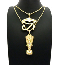 African Queen Nefertiti Eye of Heru Pendant Set 14k Gold