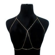 Ladies Sexy Draped Bar Body Chain Bra Gold