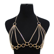 Ladies Sexy Rings Bra Net Body Chain Gold