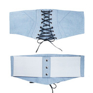 Ladies Denim Lace Up Corset Over Shirt Belt Blue