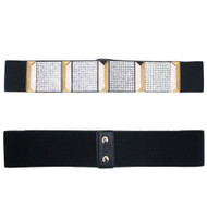 Ladies Crystal Block Elastic Corset Over Shirt Belt Black