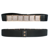 Ladies 6 Crystal Block Elastic Corset Over Shirt Belt Black