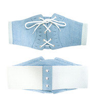 Ladies Elastic Denim Stitched Lace Up Corset Over Shirt Belt Blue
