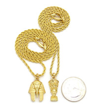 14k Gold King Akhenaten Queen Nefertiti Pendant Chain