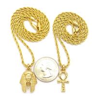 14k Gold King Akhenaten Original Ankh Cross Pendant Chain