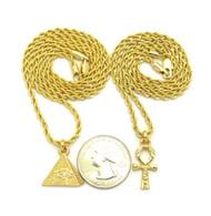 14k Gold Eye Of Horus Pyramid Ankh Cross Pendant Chain