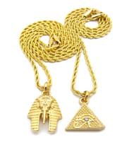 14k Gold Eye Of Horus Pyramid  King Akhenaten Pendant Chain