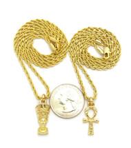 14k Gold Ankh Cross Queen Nefertiti Pendant Chain